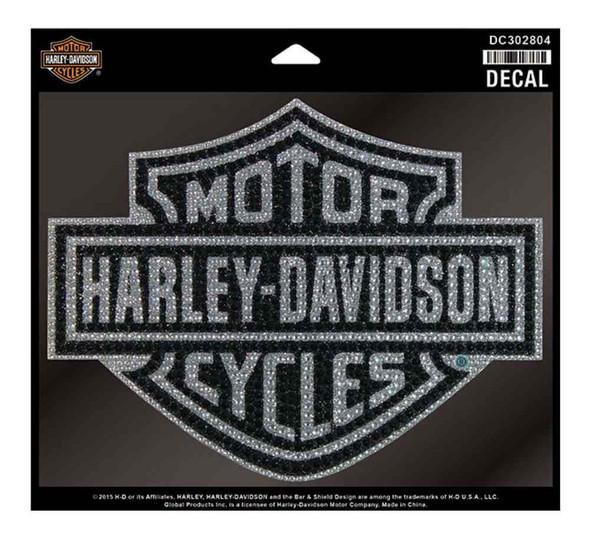 Harley-Davidson Studded Glitter Rhinestone Bar & Shield Logo Decal DC302804 - Wisconsin Harley-Davidson