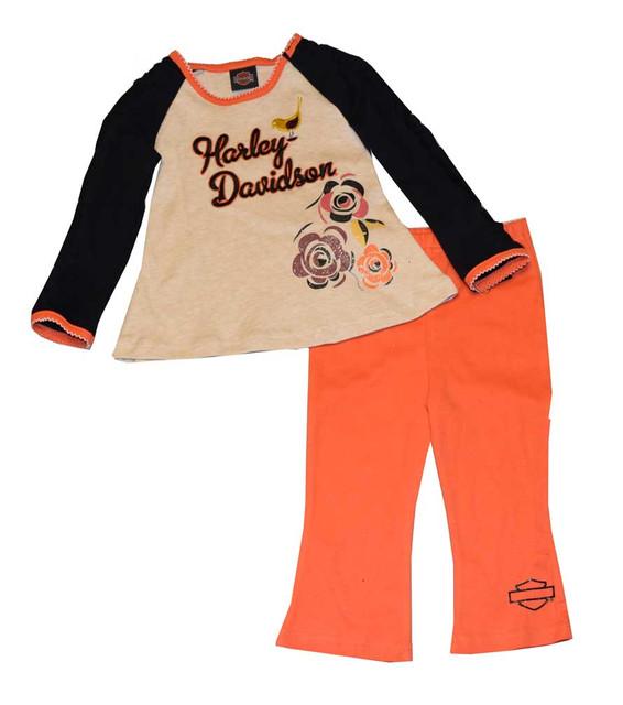 Harley-Davidson Little Girls' Pant Set, 2-Piece Set White & Orange 3322378 - Wisconsin Harley-Davidson