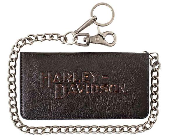 Harley-Davidson Men's Biker Bi-Fold Chain Wallet Black Leather VM2022L-Black - Wisconsin Harley-Davidson