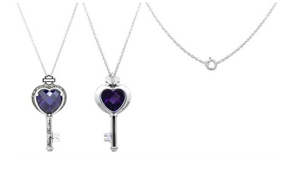 Harley-Davidson Women's Purple Jeweled Heart Key Necklace HDN0245-16 - Wisconsin Harley-Davidson