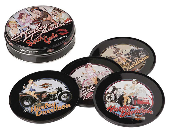 Harley-Davidson Servi-Gal Coasters Set, 4 Tin Coasters HDL-18521 - Wisconsin Harley-Davidson