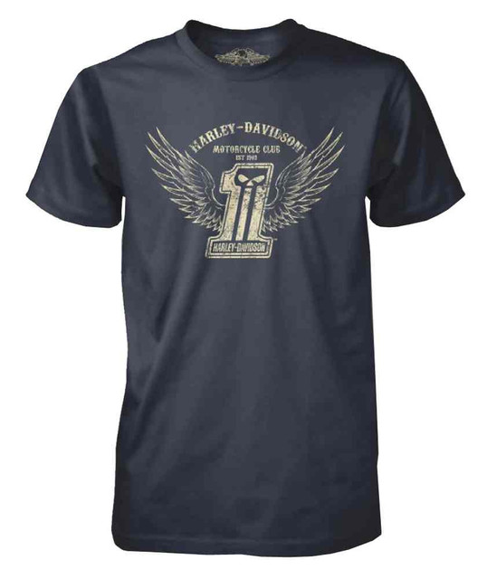 Harley-Davidson Men's Black Label Distressed Winged #1 Skull T-Shirt, Navy - Wisconsin Harley-Davidson