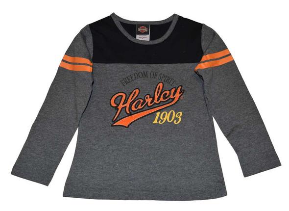 Harley-Davidson Little Girls' Shirt, Long Sleeve Baseball Tee, Gray 3321502 - Wisconsin Harley-Davidson