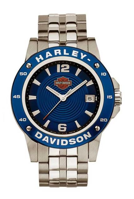Harley-Davidson Men's Bulova Watch Bar & Shield Blue Dial Stainless Steel 78B118 - Wisconsin Harley-Davidson