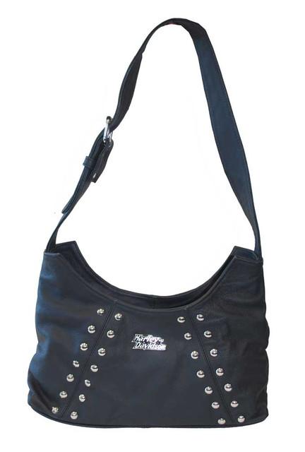 Harley-Davidson Women's Soft Studded Shoulder Bag Black Leather Purse HD663 - Wisconsin Harley-Davidson