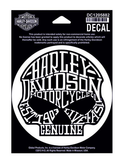 Harley-Davidson Loudmouth Skull Small Decal, 4'' W x 4'' H DC1205882 - Wisconsin Harley-Davidson