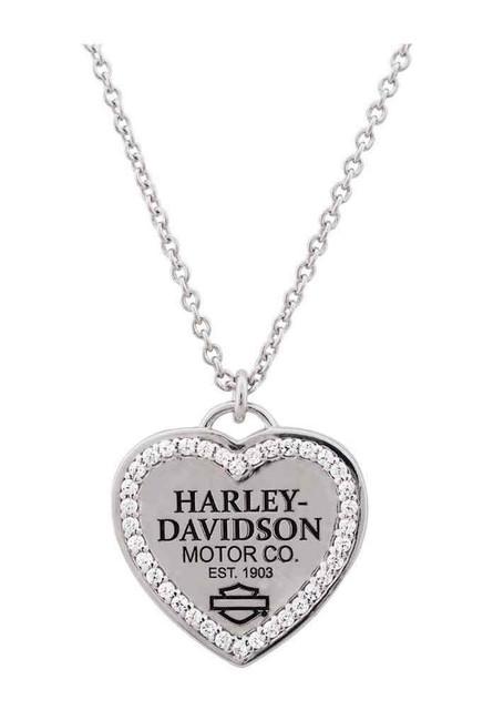 Harley-Davidson Women's Necklace, 1903 Bling Heart Charm, Silver HDN0304 - Wisconsin Harley-Davidson