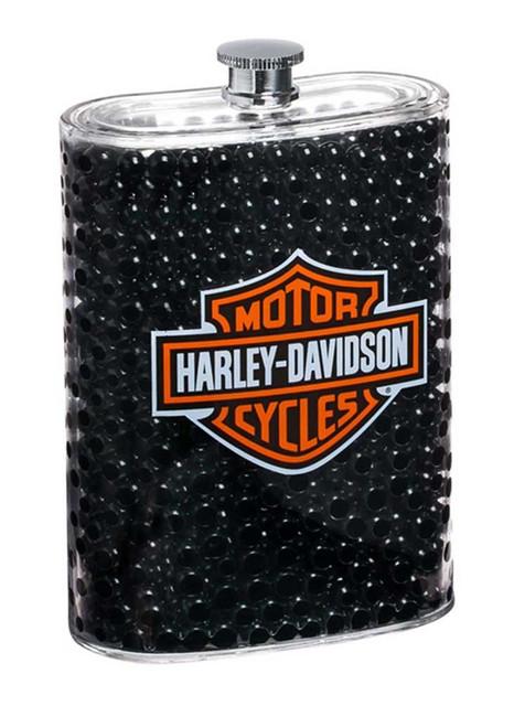 Harley-Davidson Bubbled Bar & Shield Logo Acrylic Flask, 5 oz. Black, 2AF4900 - Wisconsin Harley-Davidson