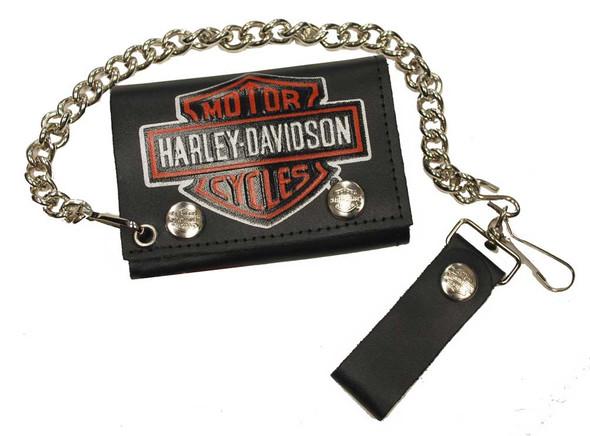 Harley-Davidson Men's Bar & Shield Tri-Fold Biker Chain Wallet Black TC304HC-2 - Wisconsin Harley-Davidson