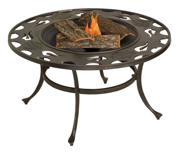 Harley-Davidson Bar & Shield Low Profile Fire Pit 24 in Cast Iron Bowl HDL-10058 - Wisconsin Harley-Davidson