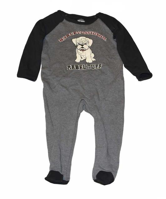 Harley-Davidson Baby Boys' Footie Fleece Coverall, Little Rebel, Gray 4363126 - Wisconsin Harley-Davidson