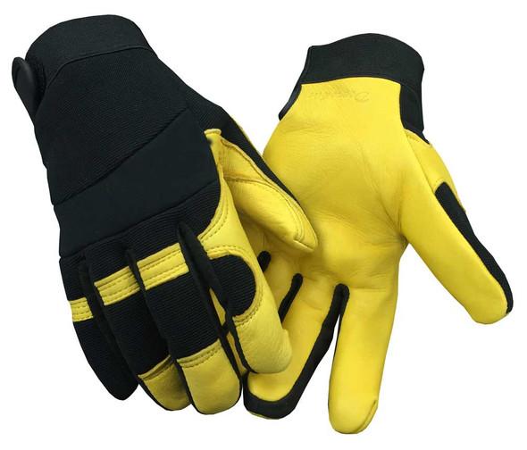 Northstar Unisex Deerskin & Nylon Stretch Mechanic Sport Glove Black/Yellow. 18T - Wisconsin Harley-Davidson