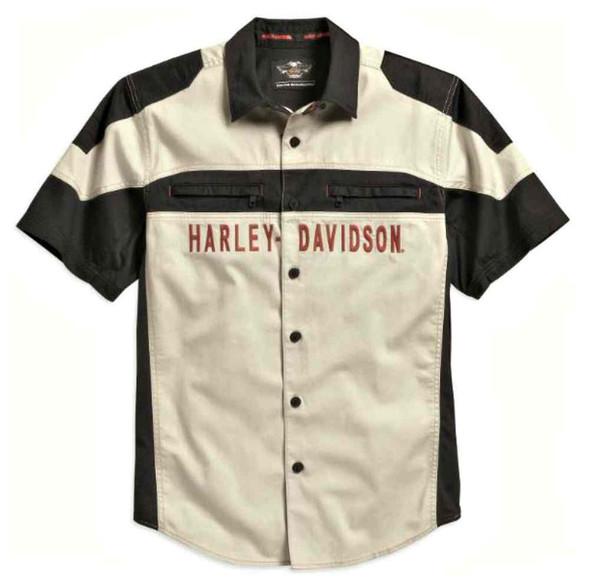 Harley-Davidson Men's Performance Vented Colorblock Woven Shirt, 96113-16VM - Wisconsin Harley-Davidson