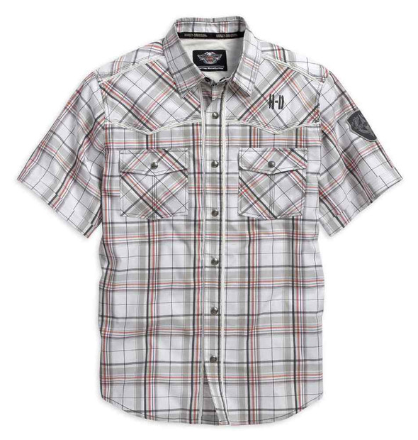 Harley-Davidson Men's Detailed Short Sleeve Plaid Woven Shirt, 96115-16VM - Wisconsin Harley-Davidson