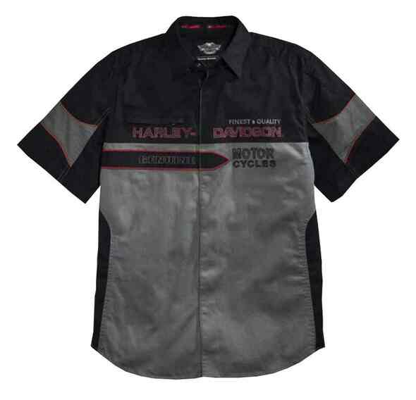 Harley-Davidson Men's Finest Contrast Short Sleeve Woven Shirt, 96112-16VM - Wisconsin Harley-Davidson