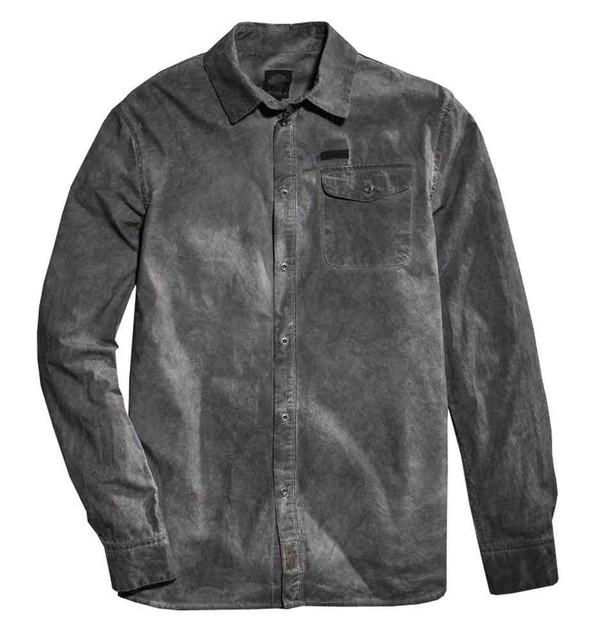 Harley-Davidson Men's Dirty Wash Distressed Long Sleeve Woven Shirt 96457-16VM - Wisconsin Harley-Davidson