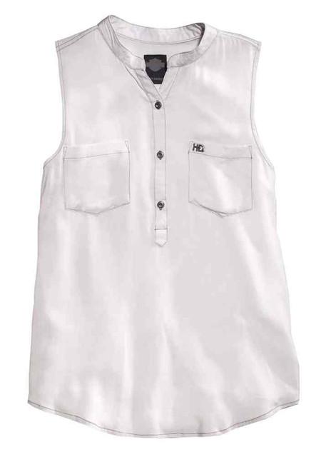 Harley-Davidson Women's Distressed Pocket Sleeveless Shirt, White 96199-16VW - Wisconsin Harley-Davidson
