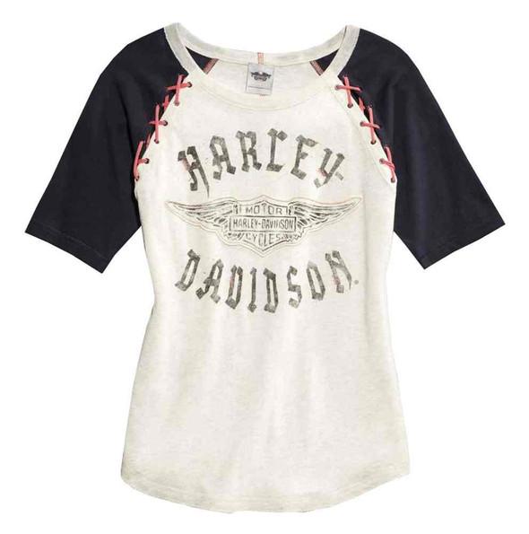 Harley-Davidson Women's Colorblocked Laced Raglan Sleeve Shirt, 96241-16VW - Wisconsin Harley-Davidson