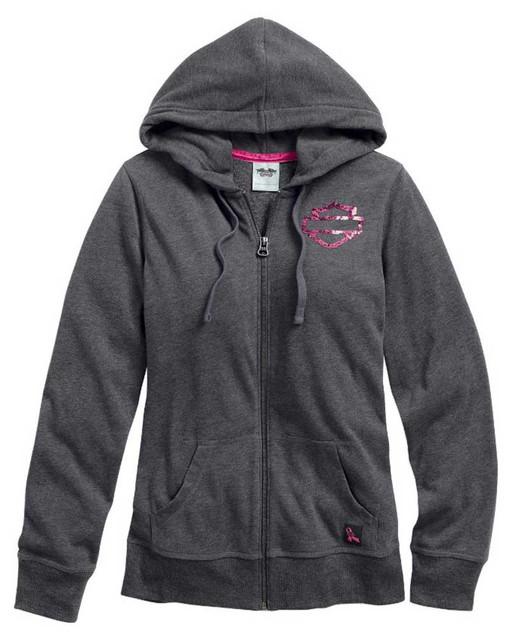 Harley-Davidson Women's Hoodie, Pink Label Bar & Shield Sweatshirt 99106-15VW - Wisconsin Harley-Davidson