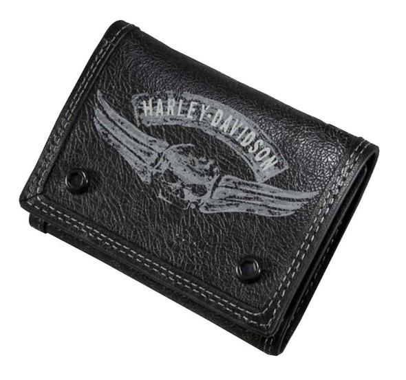 Harley-Davidson Men's Winged Skull Tri-Fold Wallet Distressed Leather 97659-16VM - Wisconsin Harley-Davidson