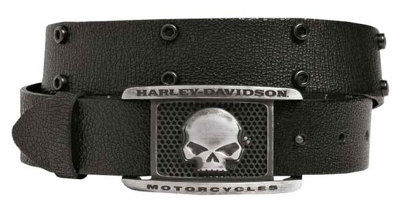 Harley-Davidson Men's Crackle Willie G Skull Belt, Black Leather 97658-16VM - Wisconsin Harley-Davidson