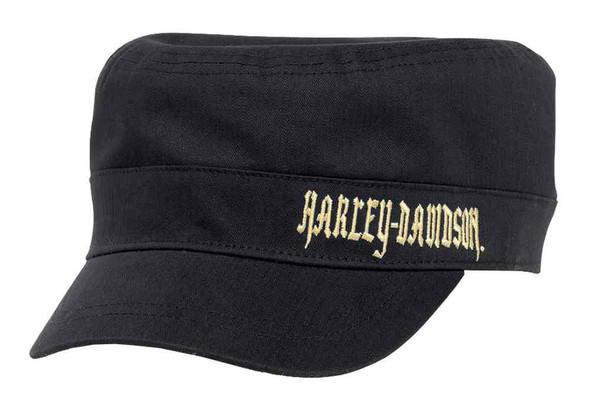 Harley-Davidson Women's Embroidered Flat Top Cap w/ Plaid Underbill 97870-16VW - Wisconsin Harley-Davidson