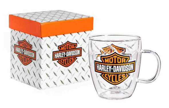 Harley-Davidson Bar & Shield Glass Blown Coffee Cup, Clear 12 oz. 3GCC4900 - Wisconsin Harley-Davidson