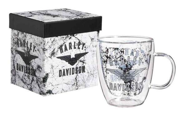 Harley-Davidson Wing Bar & Shield Glass Blown Coffee Cup, Clear 12 oz. 3GCC4918 - Wisconsin Harley-Davidson