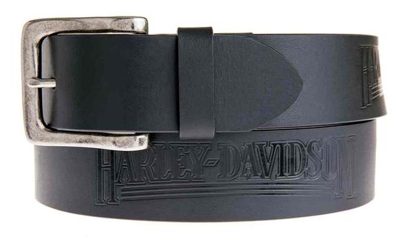 Harley-Davidson Men's Embossed Shot Caller Belt, Black Leather HDMBT11038-BLK - Wisconsin Harley-Davidson