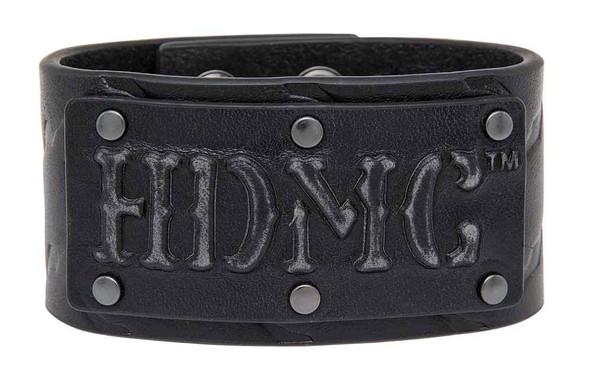 Harley-Davidson Men's Gridlock Debossed HDMC Cuff, Black Leather HDMCU11061-BLK - Wisconsin Harley-Davidson