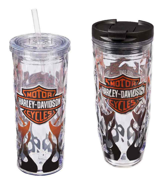 Harley-Davidson Flaming B&S Hot & Cold Tumbler Gift Set, 2-Pack, P4214900FLA - Wisconsin Harley-Davidson