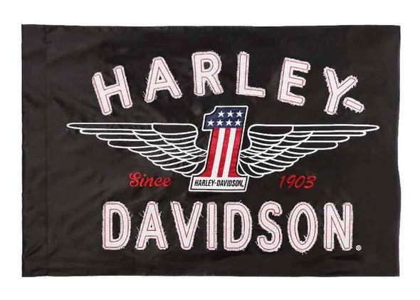 Harley-Davidson Embroidered Frayed Estate Winged #1 Flag, 3 x 5 ft. Black 124917 - Wisconsin Harley-Davidson