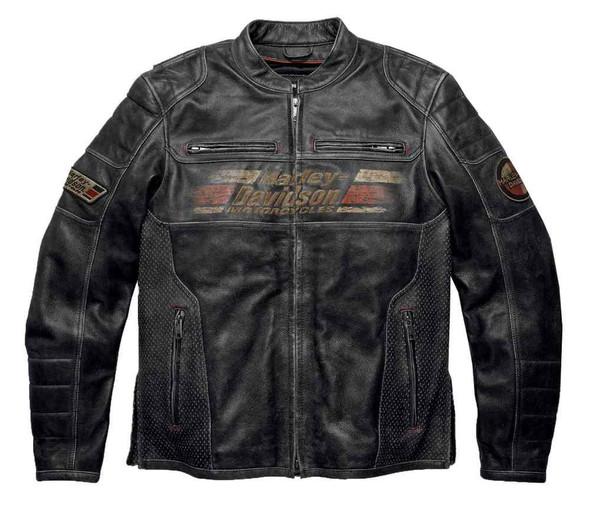 Harley-Davidson Men's Astor Patches Distressed Leather Jacket, Black 97122-16VM - Wisconsin Harley-Davidson