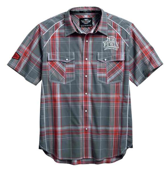 Harley-Davidson Men's SYN3 Contrast Short Sleeve Plaid Woven Shirt 96150-16VM - Wisconsin Harley-Davidson