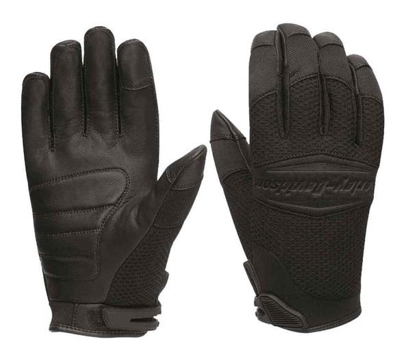 Harley-Davidson Men's Auxiliary Mesh Full-Finger Gloves, Black 97355-16VM - Wisconsin Harley-Davidson