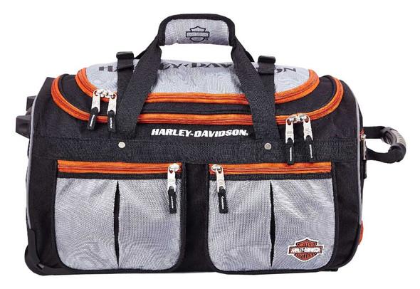 Harley-Davidson 34 inch 15-Pocket Wheeling Duffel Bag, Silver/Black 99534 - Wisconsin Harley-Davidson