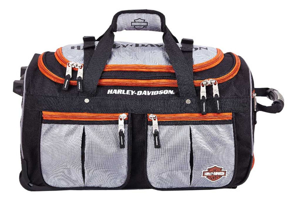 Harley-Davidson 29 inch 15-Pocket Wheeling Duffel Bag, Silver/Black 99529 - Wisconsin Harley-Davidson
