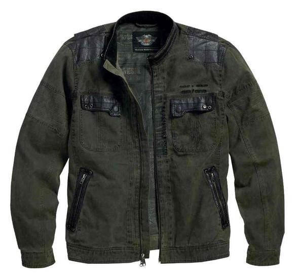 Harley-Davidson Men's High-Ace Cotton Canvas Casual Jacket, Green 97568-16VM - Wisconsin Harley-Davidson