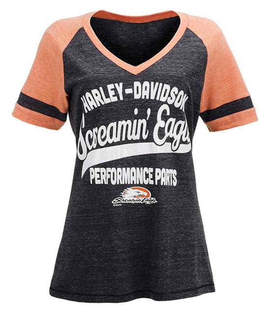 Harley-Davidson Screamin' Eagle Shimmer Tailsweep Raglan Tee, Gray HARLLT0193 - Wisconsin Harley-Davidson