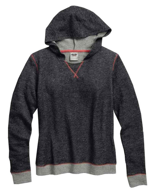 Harley-Davidson Women's French Terry Sleep Pullover Hoodie, Charcoal 97889-16VW - Wisconsin Harley-Davidson