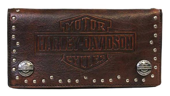 Harley-Davidson Men's Twisted B&S Debossed Trucker Leather Wallet HDMWA10504 - Wisconsin Harley-Davidson