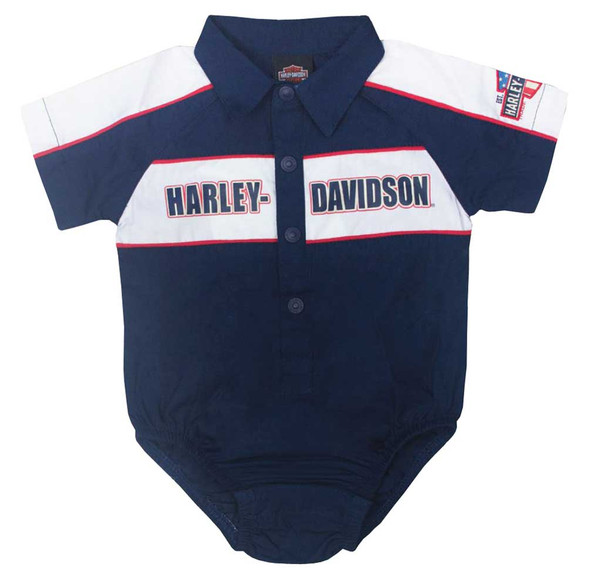 Harley-Davidson Baby Boys' Short Sleeve Infant Woven Shop Creeper, Navy 3062617 - Wisconsin Harley-Davidson