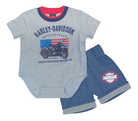 Harley-Davidson Baby Boys' Creeper Newborn 2 Piece Short Set, Gray 2052615 - Wisconsin Harley-Davidson