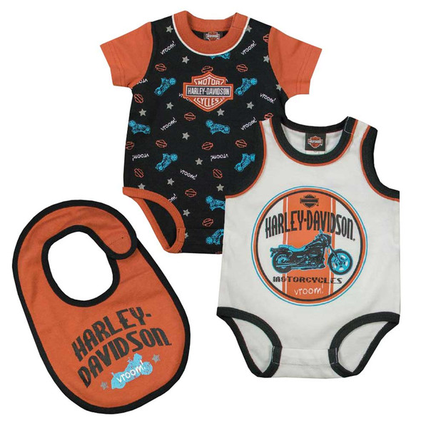 Harley-Davidson Baby Boys' Interlock Infant 2-Pack Creeper & Bib Set, 3062621 - Wisconsin Harley-Davidson