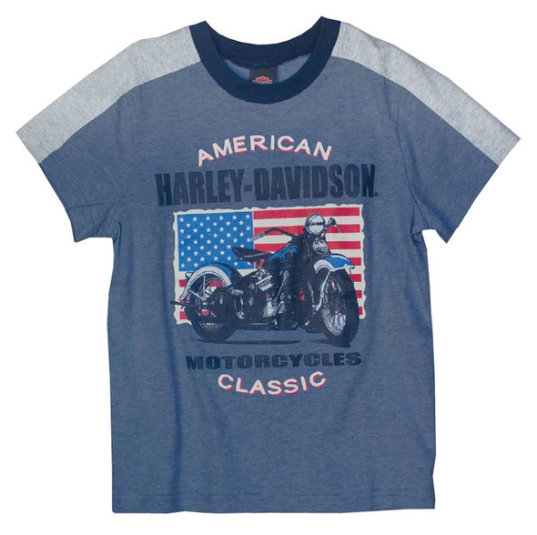Harley-Davidson Little Boys' Patriotic Motorcycle Short Sleeve T-Shirt 1082661 - Wisconsin Harley-Davidson