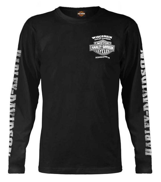 Harley-Davidson Men's Skull Lightning Crest Graphic Long Sleeve Shirt, Black - Wisconsin Harley-Davidson