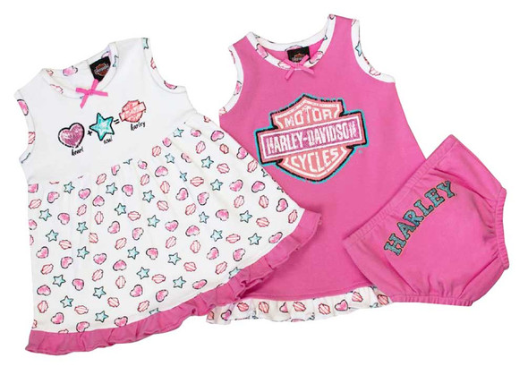 Harley-Davidson Baby Girls' Glittery Newborn 2-Pack Sundresses w/ Pant 9002611 - Wisconsin Harley-Davidson