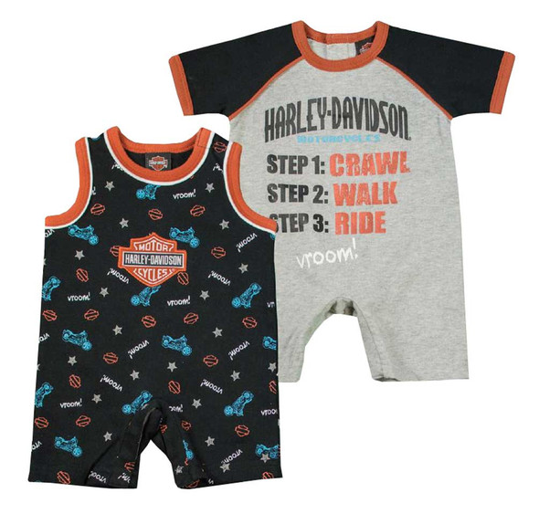 Harley-Davidson Baby Boys' Jersey Infant 2-Pack Interlock Romper Set 3062619 - Wisconsin Harley-Davidson