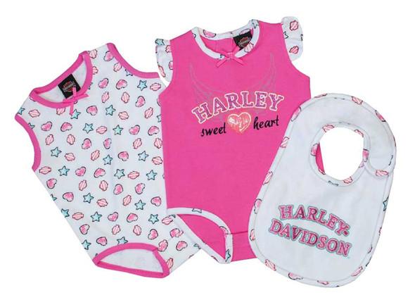 Harley-Davidson Baby Girls' Glittery Newborn 2-Pack Creeper w/ Bib Set 3002609 - Wisconsin Harley-Davidson