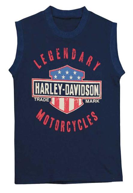 Harley-Davidson Little Boys' Jersey Sleeveless Muscle Tee, Navy Blue 1082659 - Wisconsin Harley-Davidson
